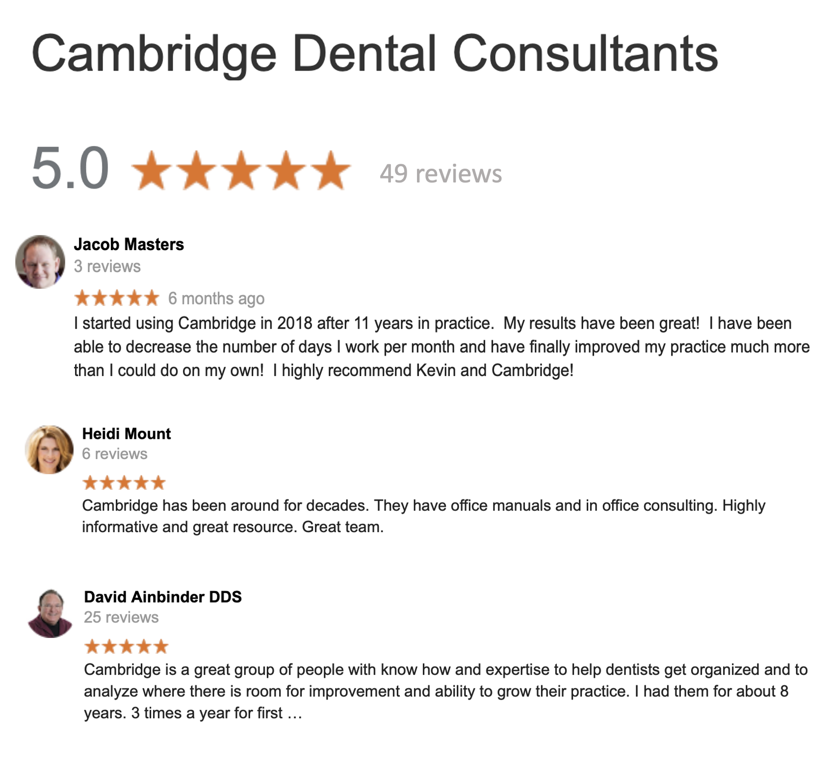 Dental Consultant Google Reviews